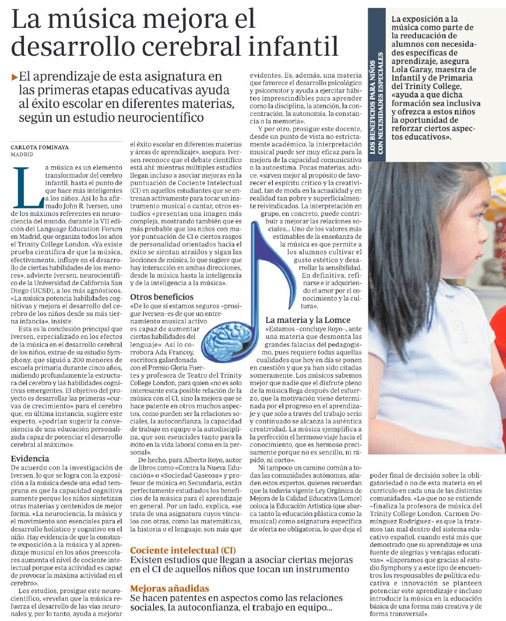 La música mejora el desarrollo cerebral ABC