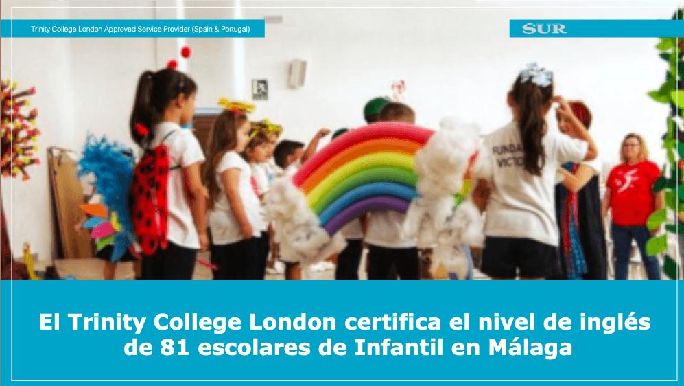 El Trinity College London certifica el nivel de inglés  de 81 escolares de Infantil en Málaga