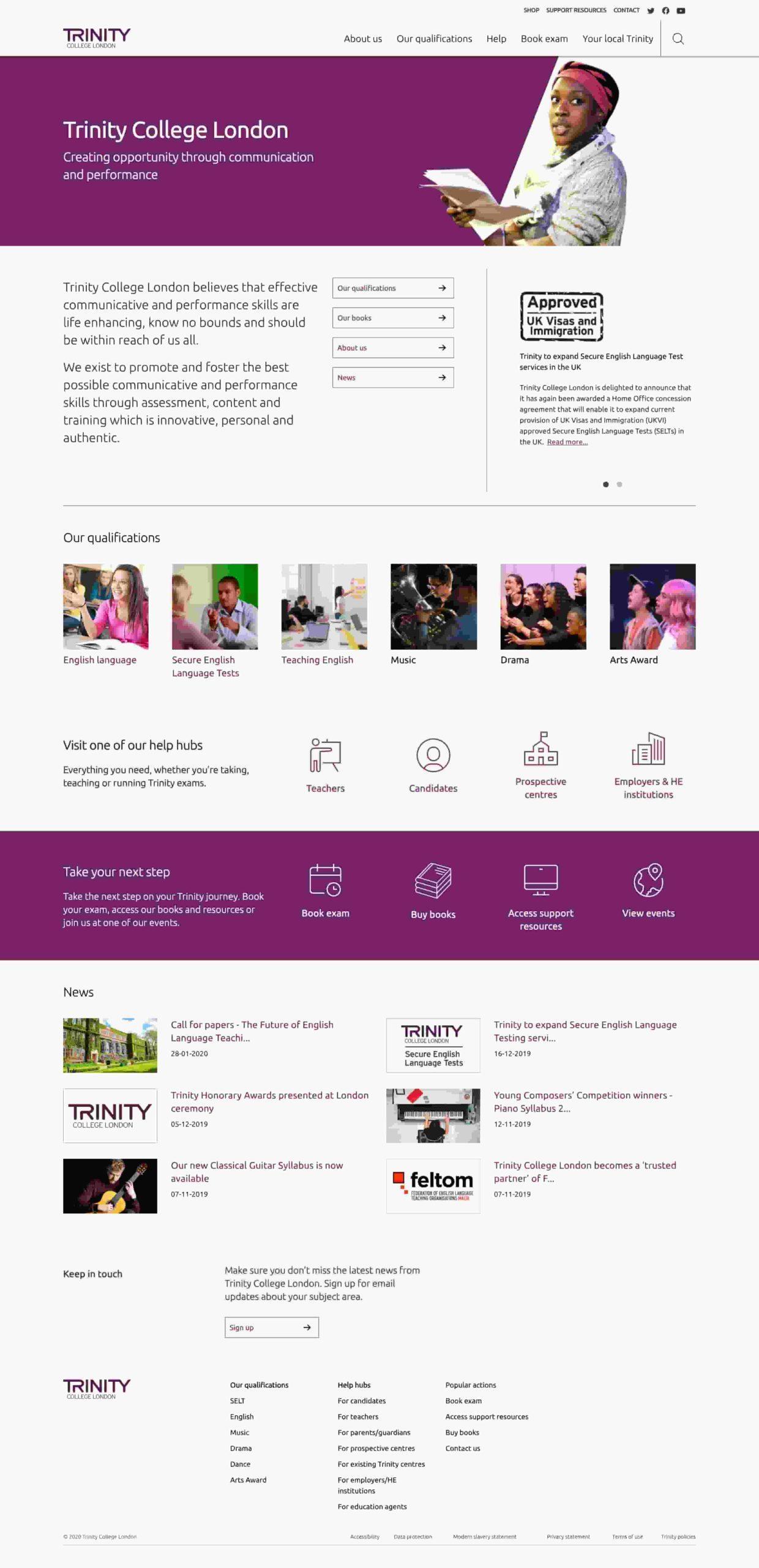 Página Home Nueva Web Trinity